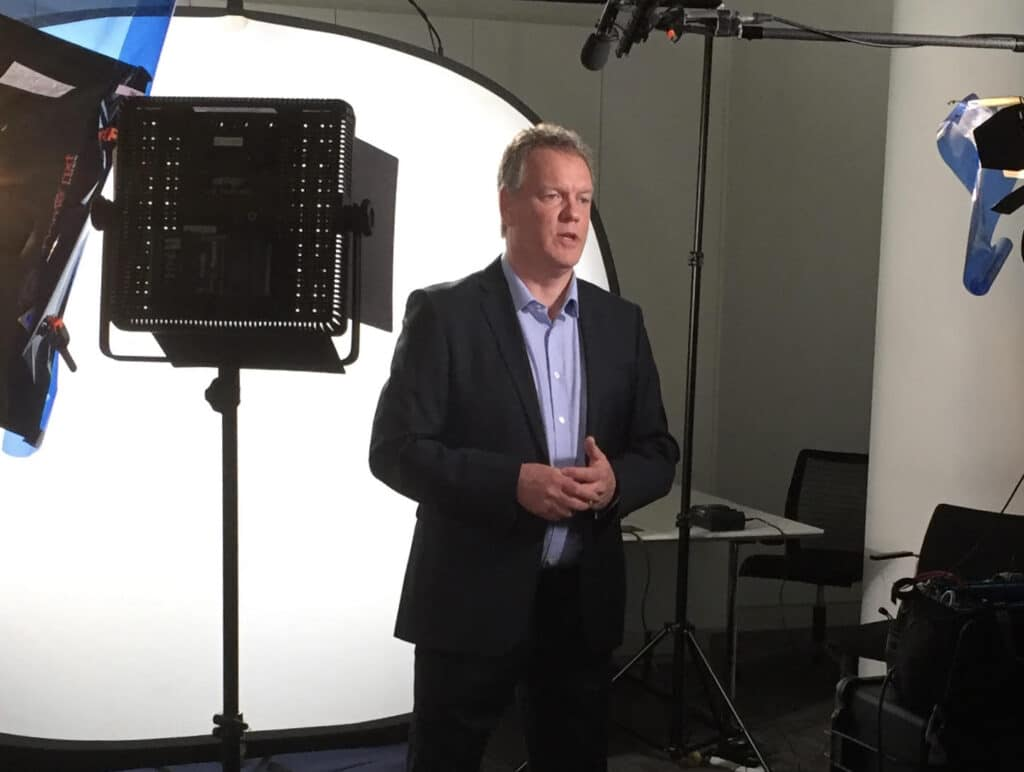 Glen Thompsett TV presenter with green screen home studio at Great British Presenters
